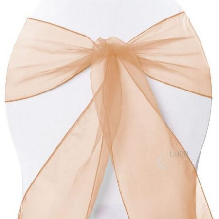 Organza Chair Sash - Peach