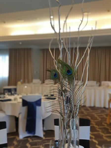 Silver Willow with Peacock Feathers