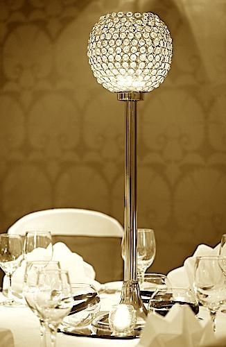Tall Crystal Goblet Centrepiece on Mirror Base