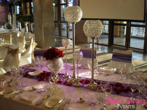 Crystal Goblets Centrepiece Gold Organza Sashes