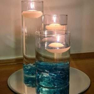 Cylinder Vases with Floating Candles on a Mirror Base