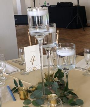 Glass Stem Trio with Floating Candles and Leaves