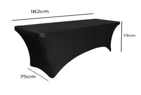 6ft Black Lycra Table Cover sizing
