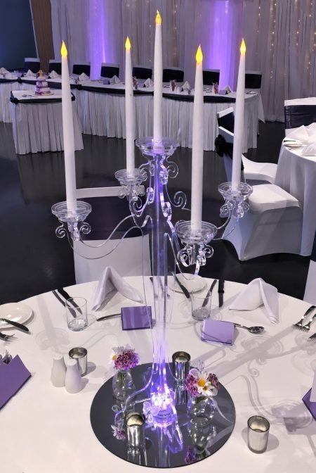 Clear candelabra with lights