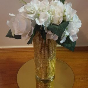 Fresh Seasonal Flowers in Gold Rhinestone Vase on Gold Mirror Base