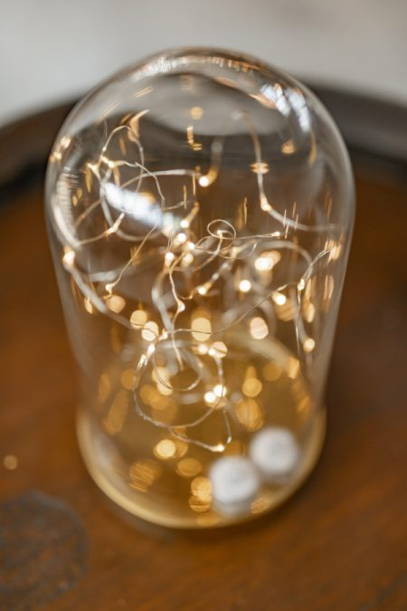 Gold Dome with LED seed lights close up