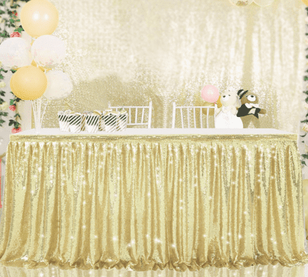 Gold Sequin Table Skirting
