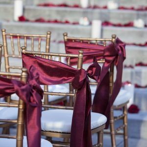 Satin sashes wedding aisle chairs - burgundy satin