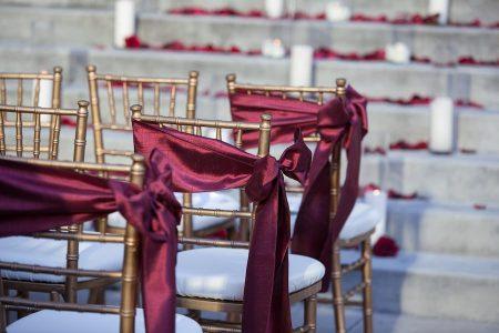 Satin sashes wedding aisle chairs - burgundy satin