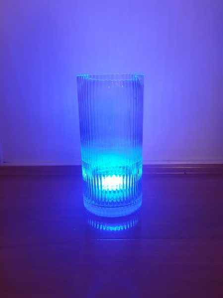 Smoky Vase with Coloured Blue Light