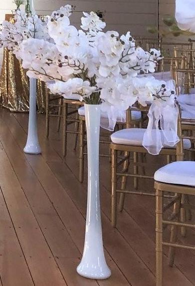 Tall Vase with Artificial White Orchids
