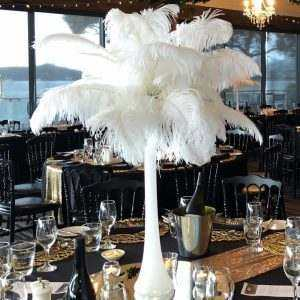 White Feathers in Tall Light Up Vase
