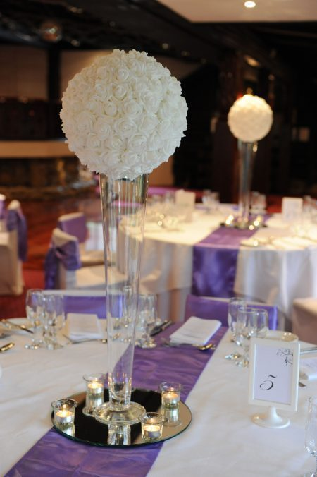 White Flower Ball on Tall Vase with 4x tealights on Mirror Base