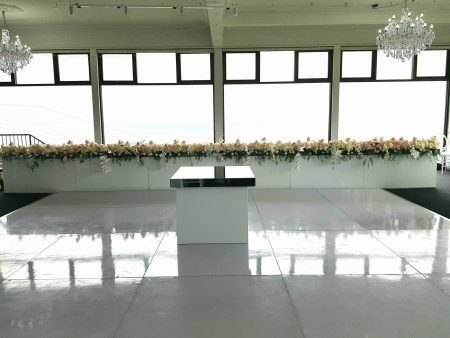 White Gloss Bridal Table and Cake Table on White Dance Floor