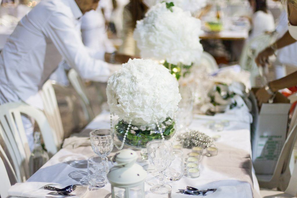 white wedding set up