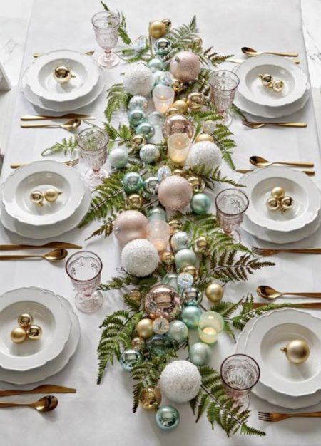 Christmas Bauble & Fern Runner - pastels with gold